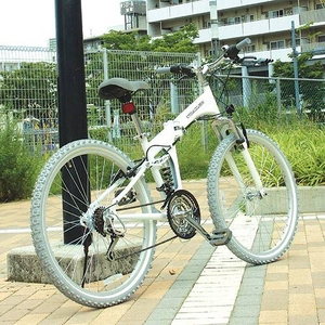 TRAILER(トレイラー) 26インチ 折りたたみマウンテンバイク 18段変速付き ホワイト+ブラケット式ワイヤーロック+LED白色ライト