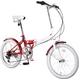 20インチ カラフル折りたたみ自転車 6段変速 HEAVEN's グロスレッド+ブラケット式ワイヤーロック+LED白色ライト