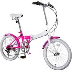 20インチ カラフル折りたたみ自転車 6段変速 HEAVEN's PK+ブラケット式ワイヤーロック+LED白色ライト