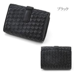 MONTANA ラム革&牛革 蛇腹式イントレチャート財布 4001 ブラック