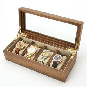 【日ごろ使っている物こそ大切に・・・】時計収納4本用 ウォルナットケース 4本用 ブラウン
