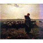 世界の名画シリーズ、最高級プリハード複製画 ジャン・フランソワ・ミレー作 「羊飼いの少女」