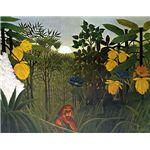 世界の名画シリーズ、最高級プリハード複製画 アンリ・ルソー作 「ライオンの食事」