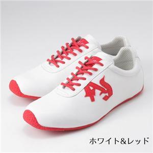 ARMANI JEANS メンズレザーシューズ B6V59MF (white&red) サイズ43