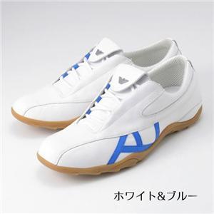 ARMANI JEANS メンズレザーシューズ B6V4721(white&blue) サイズ45