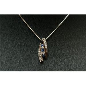K18WGダイヤ0.1ctサファイア0.1ctスライドベネチアンネックレス