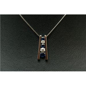 K18WGダイヤ0.15ctサファイア0.25ctスライドベネチアンネックレス