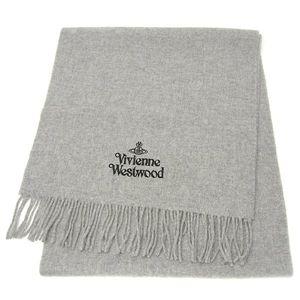 Vivienne Westwood ロゴ刺繍マフラー ライトグレー