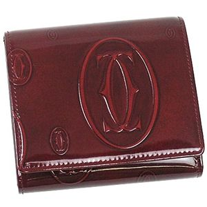 7323242ea995 Cartier(カルティエ) 三つ折り財布(小銭入れ付) L3000720 ハッピーバースディ ワイン