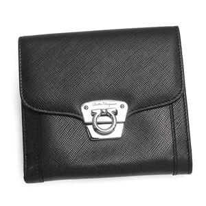 Salvatore Ferragamo(サルヴァトーレ・フェラガモ) Wホック財布 22A207 BK 374959 ブラック