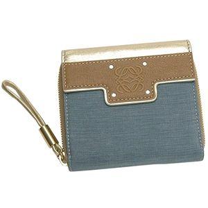 LOEWE(ロエベ)Wホック財布 181 80 555 BOOM BAG ブルー