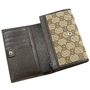 GUCCI(グッチ) 三つ折り財布(小銭入れ付) 154258 CARD CASE ベージュ/ダークブラウン