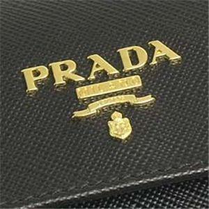 03プラダ/PRADA 三つ折り財布(小銭入れ付)/SAFFIANO METAL ORO 1M0170 ブラック
