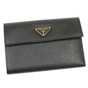PRADA(プラダ) 二つ折り財布(小銭入れ付) SAFFIANO ORO 1M0510 ブラック