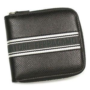 商品写真フェラガモ/Ferragamo二つ折り財布(小銭入付)OPANKシント 668622 LOS ANGELS 415326/ブラック