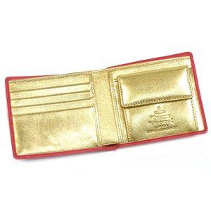 01Vivienne Westwood 二つ折り財布(小銭入れ付) NAPPA 730/ピンク/ゴールド