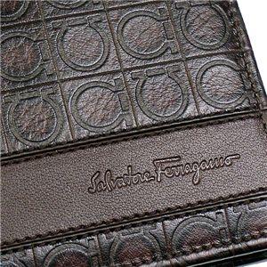 03フェラガモ/Ferragamo 二つ折り財布(小銭入れ付) GAMMA 668734 433495/ブラウン