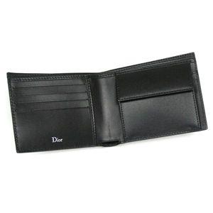 Christian Dior(クリスチャン ディオール) 二つ折り財布(小銭入れ付) DIOR HOMME 2DLBC001TEN WALLET WITH COIN PURSE 968 ブラック/グレー