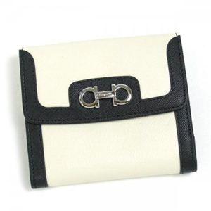 Ferragamo(フェラガモ) Wホック財布 NEW G.ICONA SPECTATO 22B115 450141 ブラック/ホワイト H10.5×W12×D2.5