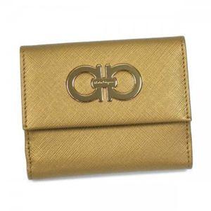 Ferragamo(フェラガモ) Wホック財布 GANCINI ICONA VITELL 227122 455768 ゴールド