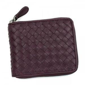 BOTTEGA VENETA(ボッテガベネタ) 二つ折り財布(小銭入れ付) P.FOGLIO INTRECCIATO 222536 6115 ダークパープル