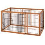 【ペット用】リッチェル ペット用 スライド 木製サークル 小型犬用 ブラウン