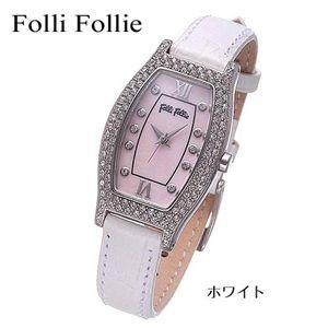 Folli Follie(フォリフォリ) トノーレザーウォッチ WF6A063SSP-WHT/ホワイト