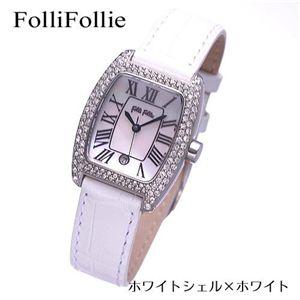 Folli Follie(フォリフォリ) パヴェ レザーウォッチ WF6A062SDW-WHT/ホワイトシェル×ホワイト