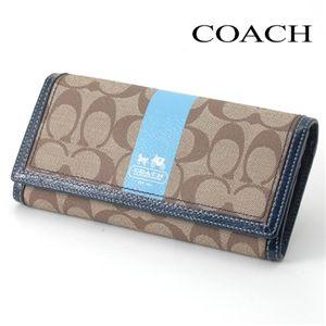 COACH(コーチ) 長財布 ヘリテージ スリムエンベローブ 40921ブルー/BKHBL