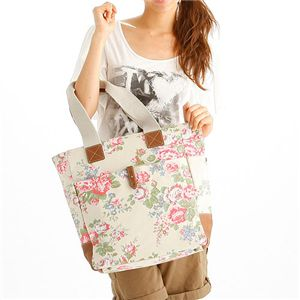 CATH KIDSTON(キャスキッドソン) 縦型トート TALL TOTE WITH LEATHER 244701・Chiswick Flower Stone