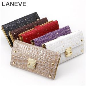 LANEVE(ランイヴ) クロコ型押し財布 LE-5006 ブラック