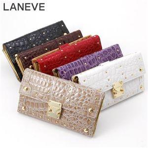 LANEVE(ランイヴ) クロコ型押し財布 LE-5006 パープル