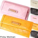 Pinky Wolman(ピンキーウォルマン) エナメル 長財布 Black 34504・ラウンド
