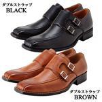 Classic1885 ロングノーズ チゼルトゥビジネスシューズ(CL57) ダブルストラップ ブラウン 27.5cm