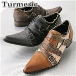 Turmeric トゥスプリング ベルトデザイン フリンジシューズ 886 ベージュ 25.0