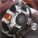 La-Coquett 天然ダイヤモンド1P バングルウォッチ(ブレス&エコバッグ付)