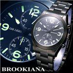 BROOKIANA(ブルッキアーナ) クロノグラフ BA1627BK/GR  BLACK NIGHTHAWK 3Hカプセルガスライトシステム