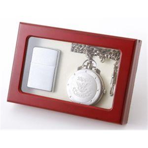 贈物に最適!男のZIPPOと懐中時計がセットになったコレクションBOX グレーの商品画像大3
