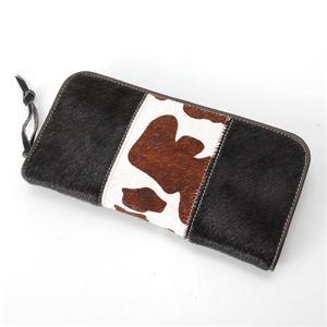 Firenze(フィレンツェ) 本馬革 ラウンドファスナー長財布 081302A ブラウン(牛柄) 本馬革