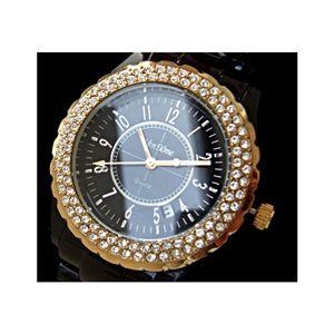 Ven Dome(ヴァンドーム) スワロフスキー豪華96石腕時計 ブラック