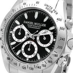 DANIEL MULLER(ダニエルミュラー) メンズウォッチ クロノグラフ DM-2003BK シルバー×ブラック