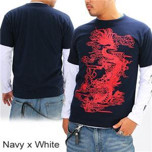 ZEKOO 和柄大集合 Tシャツ&ロングTシャツ レイヤード2枚組み ネイビー×ホワイト XL