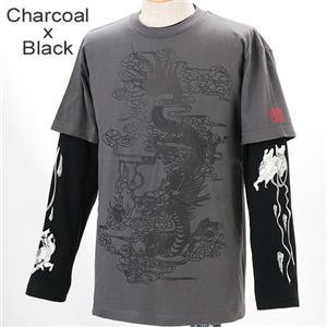 ZEKOO 和柄大集合 Tシャツ&ロングTシャツ レイヤード2枚組み チャコール×ブラック M