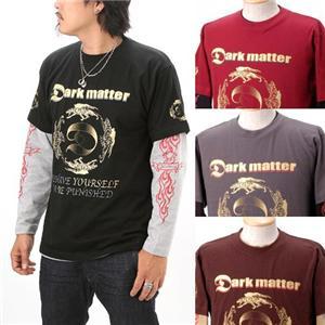 Dark matter Tシャツ&ロンT 6面プリントレイヤード 2枚組 ブラック×杢グレー M