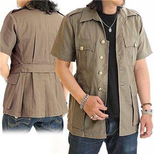 イギリス軍金ボタンサファリデッドストックシャツ ベージュ Lサイズ