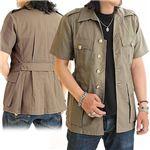 イギリス軍金ボタンサファリデッドストックシャツ ベージュ Mサイズ