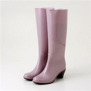 ヒールアップロングレインブーツ ピンク Sサイズ