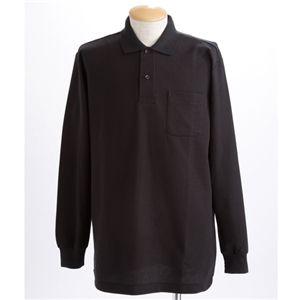 BIG 鹿の子ポケット付き長袖ポロシャツ ブラック 5Lサイズ
