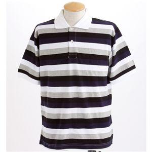 マルチボーダーメンズポロシャツ ネイビー Mサイズ