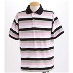 マルチボーダーメンズポロシャツ ピンク Mサイズ